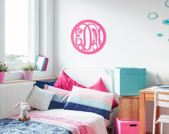 Large wood monogram, Monogram Dorm Decor, Scallop Framed Monogram, Wooden Wall Monogram, Personalized Nursery Decor, Monogram Home Decor