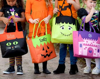 Embroidered Halloween Tote Bags, Monogram Trick or Treat Bags, Personalized Halloween Bags, Personalized Trick or Treat Bag, Halloween Candy