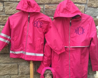 Pink Rain Jacket, Monogram Jacket Monogram Rain Coat Womens Rain Coat Pink Rain Coat Monogram Rain Jacket Embroidered Rain Coat Mommy and Me