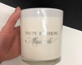 Large Custom message Candle - Gold or Silver Vinyl