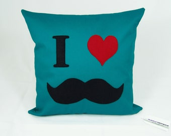SALE// Mustache cushion cover, teal, movember, geeky throw pillow, novelty housewares