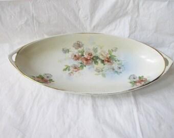 "Beyer Bock Royal Rudolstadt Prussia 12.75"" Oval Bowl, Coral Pink & White Roses (c. 1910s)"