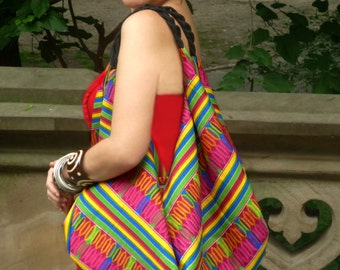 SPRING SALE African Fabric Multi-Colored Kente African Print Slouch Bag Gift Item Bohemian Slouchy Hobo Bag Spring Item