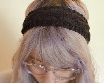 Cable Knit Bamboo/Cotton Headband Earmuff | Black Noir