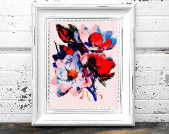 Floral Art Print in Pink/Blue/Red 8x10 Instant Digital Download Print