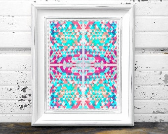 Pastel Aztec Pattern Print 8 x 10 instant download