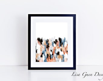 Copper and Blue Brushstrokes Abstract 8 x 10 Print Instant Download Printable Art