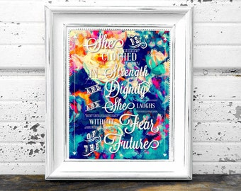 Proverbs 31:25 with Teal Floral Background 8 x 10 print Instant Digital Download