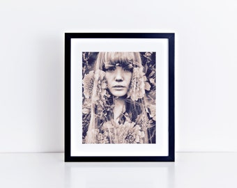 Fiera Double Exposure 8 x 10 inch Black and White Photographic Print Instant Download Printable