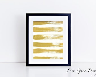 Gold Brushstrokes 8 x 10 inch Digital Download Instant Printable Art Print