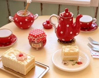 Polka Dot Tea Party 1:6 Scale Tea Pot, Sugar Bowl, Cake, Strawberry Jam