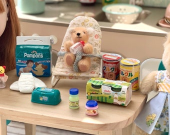 Baby Diapers, Bear Baby Bottle, Baby Food & Baby Wipes 1:6 Scale Barbie Blythe