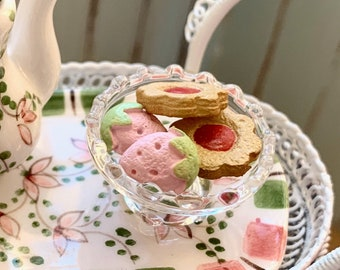 Glass Plate of Tea Cart Cookies 6th Scale Barbie Size