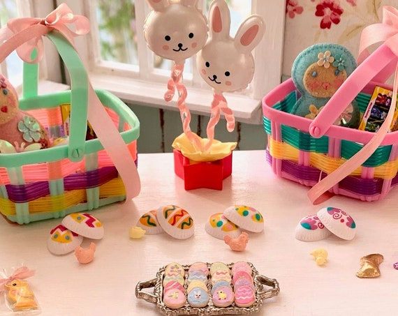 Dollhouse Easter Miniatures, Cookies, Chocolate Bunnies, Gift Bags, Tiny Eggs