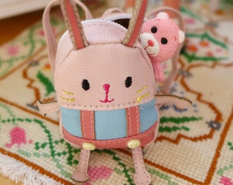 Rabbit Backpack, Strawberry Diary & Pink Teddy Bear