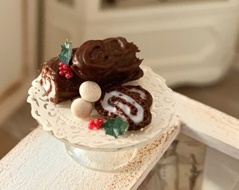 Christmas Yule log Cake by Betsy Niederer 12th Scale