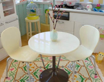 Doll Size White Kitchen Table, Chairs & Cherry Blossoms