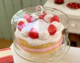 Strawberry Cake & Glass Cake Cover 6th Scale Barbie Blythe Size