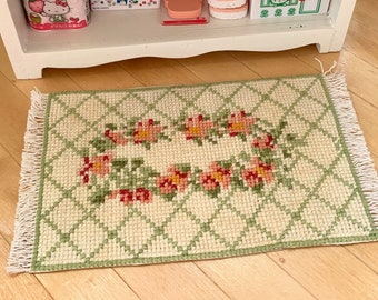 Pretty Floral Handmade Cross Stitch Rug by Marcia Barbie Blythe diorama