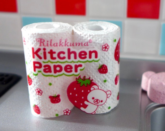 Featured listing image: Strawberry Bear Paper Towels Dishwashing Soap Hand Soap and Sponge 1:6 Scale Barbie Size