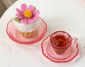 Flower Cupcake & Tea Cup Pink Depression Glass 12th Scale