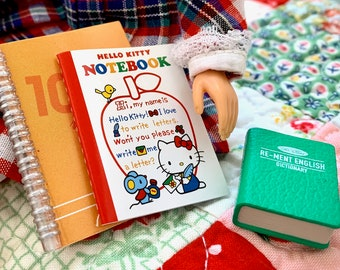School Book's Hello Kitty Notebook, Calculator, Dictionary 6th Scale Barbie, Skipper & Blythe Size
