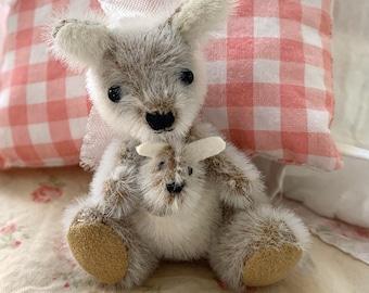 Miniature Stuffed Kangaroo & Joey