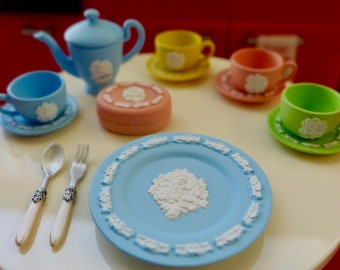 Wedgwood 6th Scale Dishes, Tea Pot, Plates, Cups & Silverware