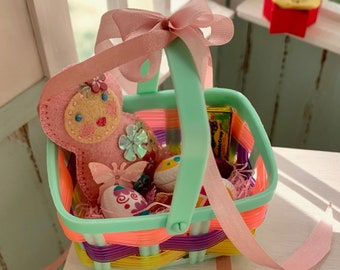 Vintage 6th Scale Easter Basket Barbie Blythe Size Easter Eggs Foil Bunnies Gift Bags