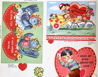 Valentine's Vintage Flocked Mint Unused Circa 1950's