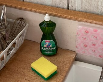 Dollhouse Miniature 12th Scale  Palmolive Dish Soap & Sponge