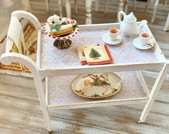Handmade Tea Cart Artisan 12th Scale Christmas Theme