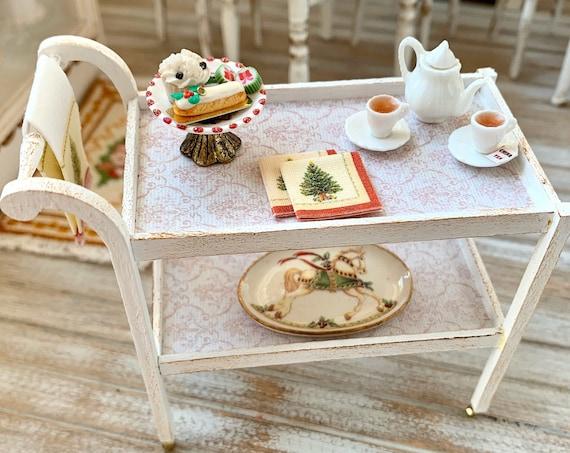 Handmade Tea Cart Artisan 12th Scale Christmas Theme