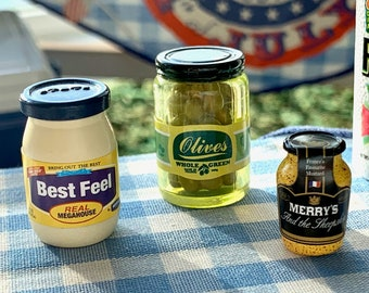 6th Scale BBQ Condiments  Olives, Mayo & Dijon Mustard
