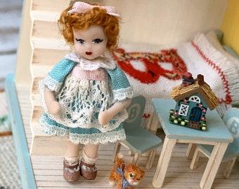 Tiny Goldilocks Porcelain Dolly
