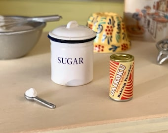 Sugar Jar, Baking Soda & Spoon Doll Size Kitchen