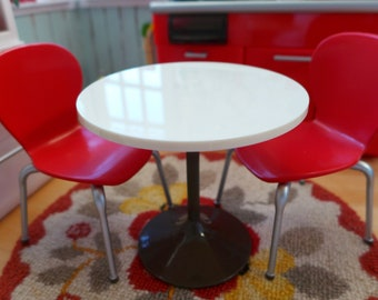 Retro Miniature Red Kitchen Table & Chairs Doll Size