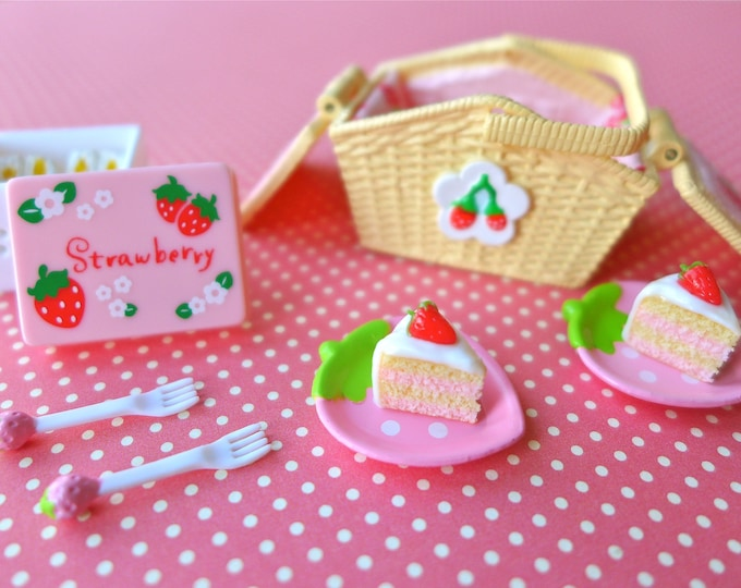 Featured listing image: Strawberry Polka Dot Picnic Basket, Plates, Glasses 1:6 Scale
