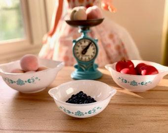 Miniature Pyrex Bowls Peaches Apple's Blue Berries Scale Barbie 1:6 Playscale Size