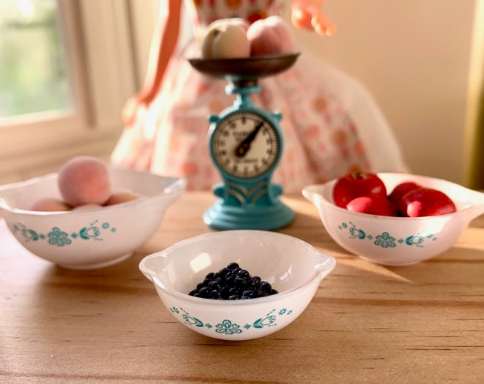 Featured listing image: Miniature Pyrex Bowls Peaches Apple's Blue Berries Scale Barbie 1:6 Playscale Size
