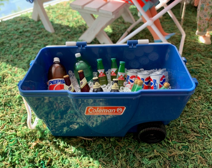 Featured listing image: 6th Scale Coleman Cooler filled with ice Barbie Size