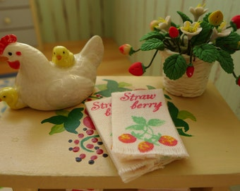 Strawberry Tea Towels & Hagen Renaker Hen 6th Scale Barbie Blythe Size