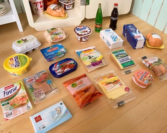 Miniature European Groceries Barbie Blythe Kitchen Milk, Eggs, Butter, Yogurt