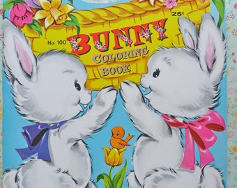 Vintage Bunny Coloring Book Mint Easter