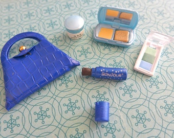 Vintage Barbie Blue Crocodile Purse, face powder, eye shadow, face cream
