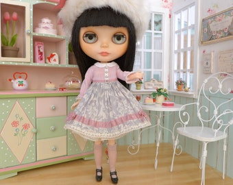 Chu Things Pink & Grey Floral Dress, Fur Hat