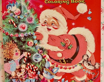 Night Before Christmas Flocked Coloring Book Mint Un-circulated Circa 1951