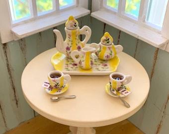 Barbie Blythe Hand Painted Ceramic Tea Set & Cookies