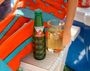 Barbie Size Ginger Ale & Glass Picnic BBQ Party