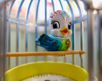 Adorable Blue Bird & Cage 6th Scale Barbie or Blythe Size